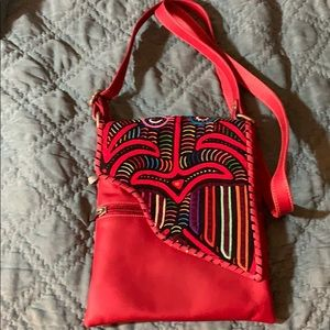 Brand red embroidered leather purse brand new